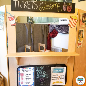 Movie Theater Dramatic Play and Activity Pack for Preschool, Pre-K and Tots