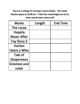 Movie Theater Elapsed Time Practice