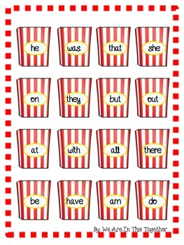 Movie Theater Popcorn Primer Dolch Words