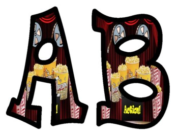 Movie Theater Themed Bulletin Board Letters