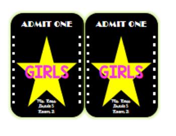 Movie Theater Themed Hall Passes (editable)