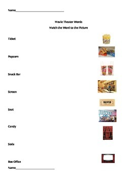Movie Theater Words Worksheets
