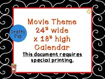 Hollywood Movie Theme 24x18 in Classroom Calendar