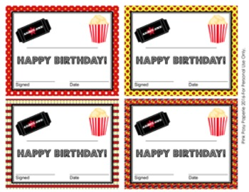 Movie Theme Birthday Certificates