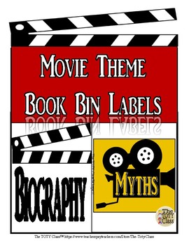 Movie Theme  Book Bin Lables