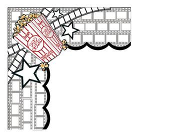 movie theme border decor bulletin board popcorn by jolly llama tpt