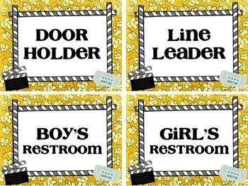 Movie Theme Classroom Helper Cards