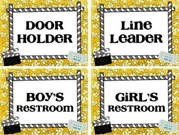 Movie Theme Classroom Helper Cards