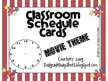 Movie Theme Classroom Schedule Cards