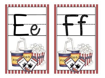 Movie Theme Large Alphabet Cards with Handwriting Lines
