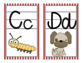 Movie Theme Large Letter Cards with Beginning Sounds and Handwriting Lines