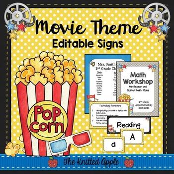 Movie Theme Sign Templates {Editable}