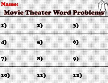 Movie Themed 2 Digit Multiplication Task Cards