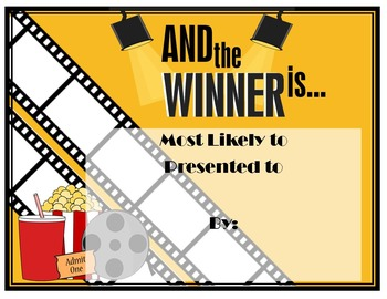 Movie Themed Award Editable