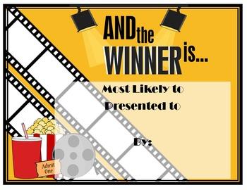 Movie Themed Award Editable