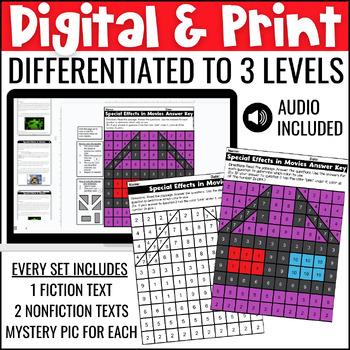 Close Reading Comprehension Passages: Movie Themed | ELA Test Prep
