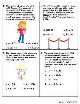 Movie Themed Formative Assessment {Expressions & Equations}