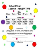 Speech Schedule Parent Letter