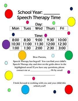 Speech Schedule Parent Letter