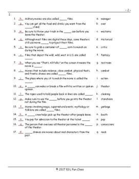 Movie Things-Genres Matching Exam