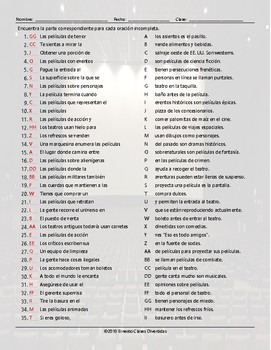 Movie Things and Genres Sentence Match Spanish Worksheet