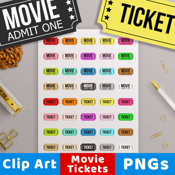 Movie Ticket Clipart, Circus Ticket, Carnival Ticket, Theater Ticket