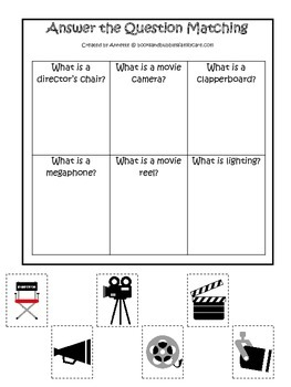 Movie Time themed Answer the Question printable game.  Pre