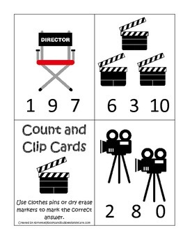 Movie Time themed Count and Clip Cards child math curriculum.  Daycare.