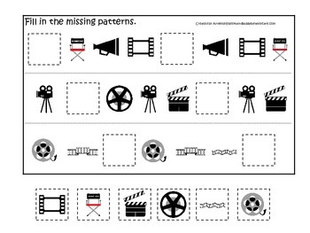 Movie Time themed Fill in the Missing Pattern preschool printable game.