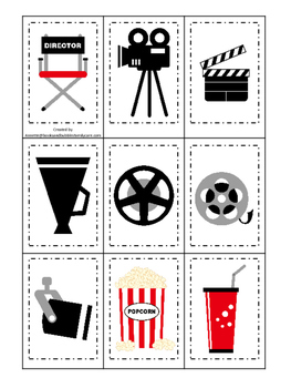 Movie Time themed Memory Matching preschool curriculum gam