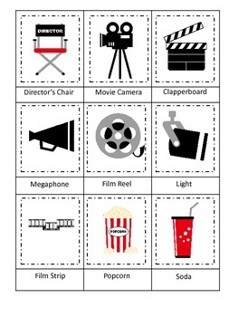 Movie Time themed Three Part Matching preschool printable activity.