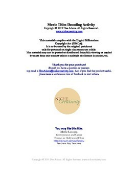 Movie Titles  Decoding Quiz and Writing Activity, Printable