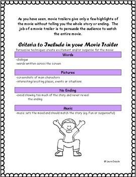 Movie Trailer Media Assignment Grades 4-8