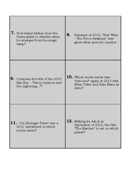 Movie Trivia Task Cards