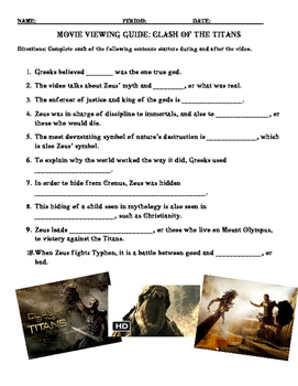Movie Viewing Guide for Clash of the Titans (2010 version) with KEY