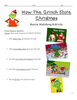 Movie Viewing Guide for How The Grinch Stole Christmas