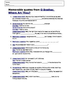 Movie Worksheet: O Brother Where Art Thou  (Depression Movie)