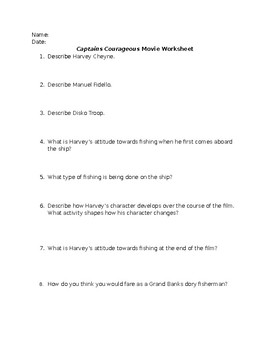 Movie Worksheet for Captain's Courageous