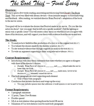 Movie and Book Comparison Essay Assignment and Rubric