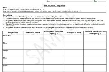 Movie and Book Comparison Graphic Organizer - 7th Grade