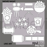 Movie night clip art black and white