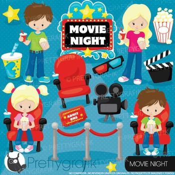 Movie night clipart commercial use, graphics, digital clip art, cinema - CL920