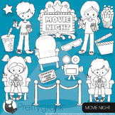 Movie night stamps commercial use, vector graphics, images, cinema - DS920