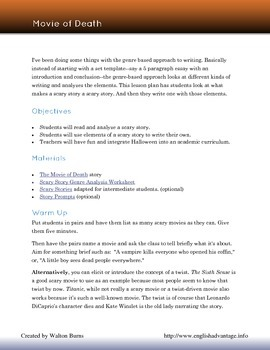 Halloween Scary Story Writing Lesson Plan: Movie of Death