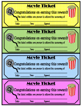 Movie tickets - classroom rewards