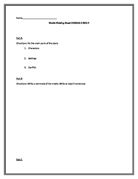 Movie viewing worksheet for Edge Blue Unit 3 Cluster 1 vocab