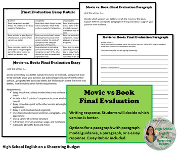 Movie vs Book Comparison Activity (Fully Editable) Word version