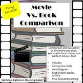 Movie vs Book Comparison Activity (Fully Editable) Word version