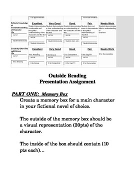 Movie vs. Novel Reading Project with Memory Box Assignment