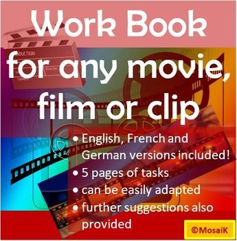 Movie work books: English, French, German - customizable to fit any movie